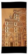 Faced Of Florence Cathedral  Beach Towel