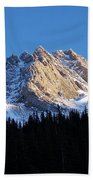 Fading Afternoon Sun Illuminates Mountain Peak  Beach Towel