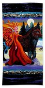 Faerie And Wolf Beach Towel by Genevieve Esson