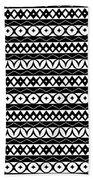 Fair Isle Black And White Beach Towel