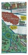 Fairmount Neighborhood Map Beach Towel