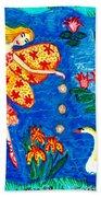 Fairy Feeding Swan Beach Towel