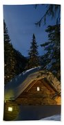 Fairy House In The Forest Moonlit Winter Night Beach Towel
