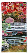 Fall Bridge In Manito Park Beach Towel by Carol Groenen
