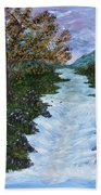 Fall By The River Beach Towel