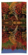 Fall Color Reflected In Thornton Lake Michigan Beach Towel
