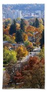 Fall Colors In Spokane From The Post Street Hill Beach Towel