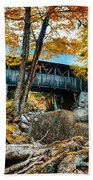 Fall Colors Over The Flume Gorge Covered Bridge Beach Towel