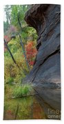 Fall Colors Peek Around Mountain Vertical Beach Towel