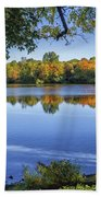Fall Foliage At Turners Pond In Milton Massachusetts Beach Towel