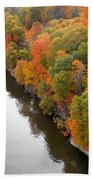Fall Foliage In Hudson River 10 Beach Towel