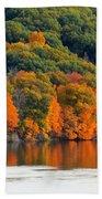 Fall Foliage In Hudson River 14 Beach Towel