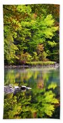 Fall Foliage Reflection Beach Towel