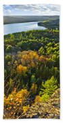 Fall Forest And Lake Top View Beach Towel