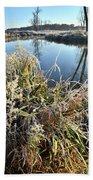 Fall Frost On Grasses Along Nippersink Creek Beach Towel