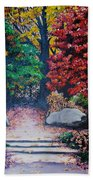 Fall In Quebec Canada Beach Towel by Karin  Dawn Kelshall- Best