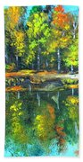 Fall Landscape Acrylic Painting Framed Beach Towel