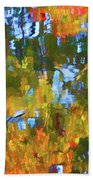 Fall Leaves On River 12 Beach Towel
