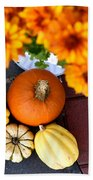 Fall Mums And Pumpkins Beach Towel