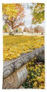 Fall Park Bench Beach Sheet