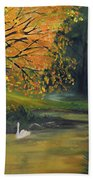 Fall Pond With Swans Beach Towel