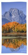 Fall Reflection At Oxbow Bend Beach Sheet