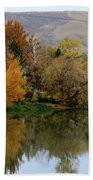 Fall Reflection Below The Hills In Prosser Beach Towel