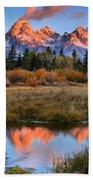 Fall Teton Tip Reflections Beach Towel