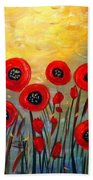 Fall Time Poppies  Beach Towel