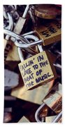 Falling In Love To The Beat Of The Music, Love Lock Beach Towel
