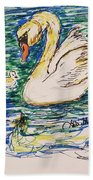 Family Of Swanns  Beach Towel