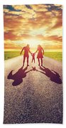 Family Walk On Long Straight Road Towards Sunset Sun Beach Towel