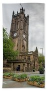 Famous Cathedral Of Manchester City In  Uk Beach Towel