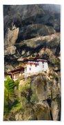 Famous Tigers Nest Monastery Of Bhutan 3 Beach Towel