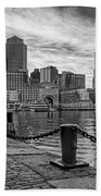 Fan Pier Boston Harbor Bw Beach Towel