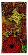 Fantasy Flowers Woodcut Beach Towel