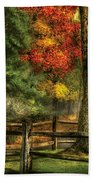 Farm - Fence - On A Country Road Beach Towel