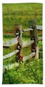 Farm - Fence - The Old Fence Post  Beach Towel