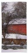 Farm - Barn - Winter In The Country  Beach Sheet