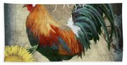 Farm Fresh Red Rooster Sunflower Rustic Country Beach Towel