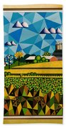 Farm On Hwy 28 Framed  Beach Towel
