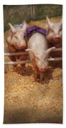 Farm - Pig - Getting Past Hurdles Beach Towel