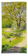 Farm Scene With Pecking Chickens Beach Towel