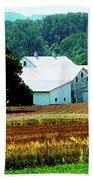 Farm With White Silos Beach Towel
