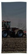 Farming April In The Field On The Case 500 Pa Beach Towel