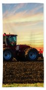 Farming April In The Field On The Case 500 Beach Towel