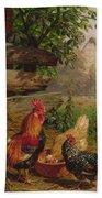 Farmyard Chickens Beach Towel