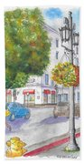Farola With Flowers In Wilshire Blvd., Beverly Hills, California Beach Towel