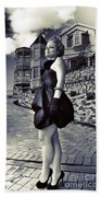 Fashionable Woman And Mansion Beach Towel
