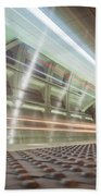 Fast Moving Long Exposure Of Subway Train Underground Tunnel Beach Towel